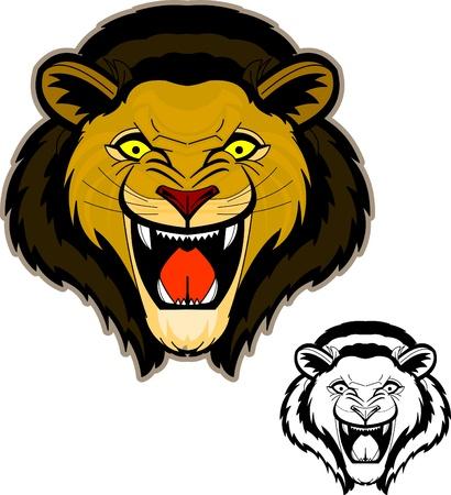 La facciata intensa e potente di testa di leone ruggente. Contorni e colori sono separati in strati per la modifica. Versione in bianco e nero incluso! Archivio Fotografico - 9894437