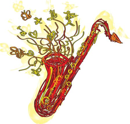 A fun sketchy stylized illustration of a saxophone. Separated into layers for easy modification. Vector