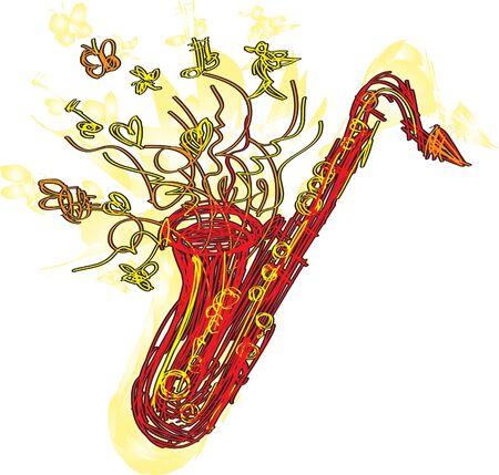 soprano saxophone: Un divertido dibujo bocetado estilizada de un saxof�n. Separado en capas para una f�cil modificaci�n.