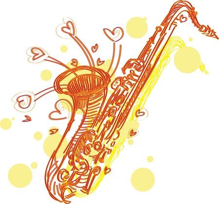 Un divertente abbozzato stilizzato illustrazione di un sassofono. Separati in strati per la facile modifica.