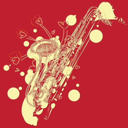 A fun sketchy stylized illustration of a saxophone. Separated into layers for easy modification. Stock Vector - 9894441