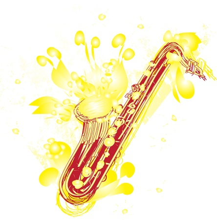 modification: A fun sketchy stylized illustration of a saxophone. Separated into layers for easy modification.