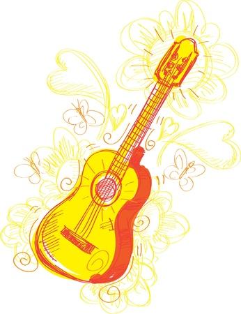 大ざっぱな楽しいイラスト、ギターの様式化されました。簡単な変更のための層に分かれてください。