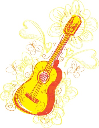schets: A fun sketchy stylized illustration of a guitar. Separated into layers for easy modification.