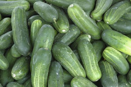 cucumbers: Cucumbers At Farmers Market Stock Photo