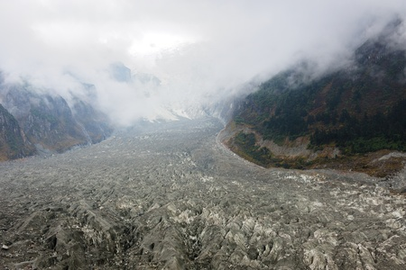 jokul: Landscape of jokul and glacier in Hailuogou, Sichuan province, China