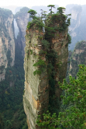 perpendicular: Steep mountain in Zhangjiajie National Forest Park located in Hunan Province, China
