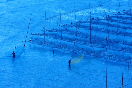 Fishermen working on the beach near the seaweed farm, photo taken in Fujian province of China Stock Photo - 8365991