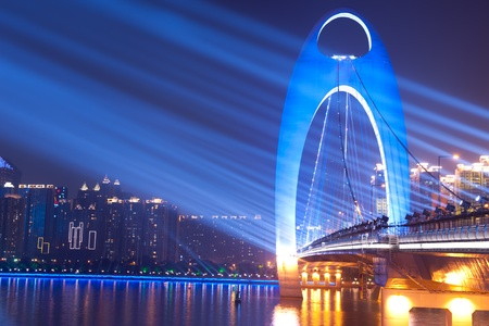 Night scene of Liede bridge with brilliant spot light in Guangzhou city of China Stock Photo