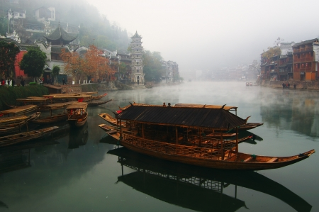 hunan: Landscape on the river, Fenghuang, Hunan, China
