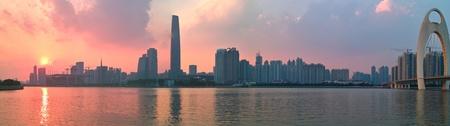 guangdong: City sunset by the Zhujiang River in Guangzhou city Guangdong province of China