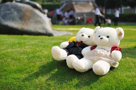 teddy bears: Dos osos de peluche, tumbado en el c�sped Foto de archivo