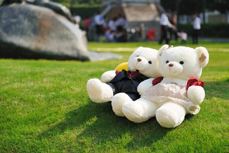 Two teddy bears lying on the lawn photo