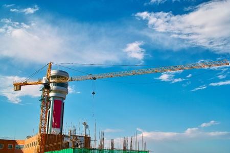 Crane under the blue sky photo