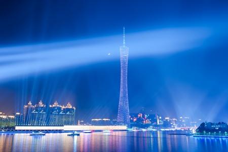 guangzhou: Guangzhou, China - November. 10 2010: Night scene of Guangzhou Tower near the Pearl river on Nov 10, 2010 in Guangzhou, China. Editorial