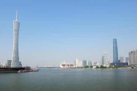 guangdong: Zhujiang River landscape in Guangzhou city, Guangdong province, China Stock Photo