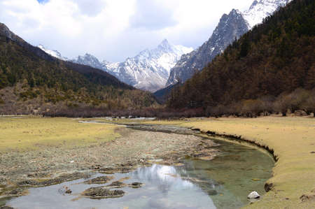 jokul: Landscapes of Snow mountains in Daocheng,Sichuan Province, China Stock Photo