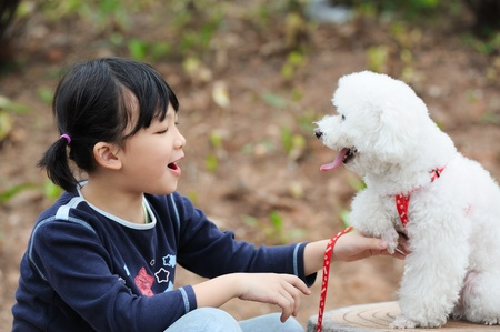 Asian kid playing with a toy poodle dog photo