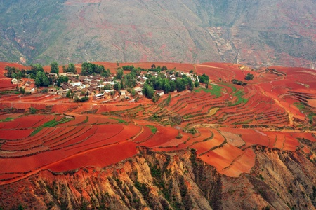 cropland: Village on the red field in Dongchuan district, Kunming city, Yunnan province,  China