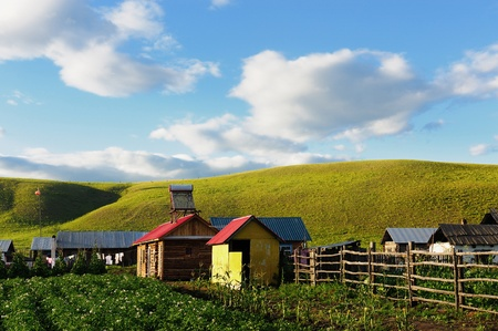 China rural landscape in the grassland of Hulun Buir League, Inner-Mongolia, China photo