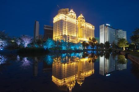 guangzhou: Guangzhou, China - June 18 2011: Night scene of Guangzhou Zhujiang New Town in Guangzhou, China. Zhujiang New Town is the financial district of Guangzhou.