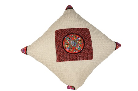 stitchwork: Chinese traditional pillow isolated on white background Stock Photo