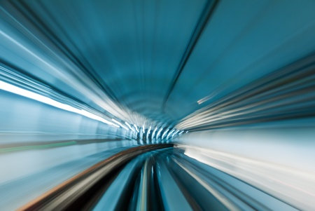 blur subway: Train moving in subway tunnel
