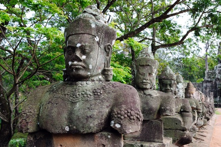 khmer: A row of statues near the Angkor Thom south gate