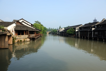 asian house plants: Ancient building near the river in Wuzhen town, Zhejiang province, China