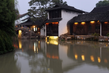 history building: Night scene of traditional building near the river in Wuzhen town, Zhejiang province, China