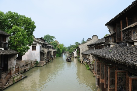 Ancient village near the river in Wuzhen town, Zhejiang province, China photo