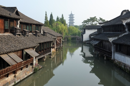 Ancient building near the river in Wuzhen town, Zhejiang province, China photo