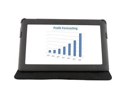 Financial report on touchscreen tablet photo