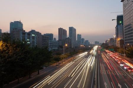 expressway: Scene of express way at sunset in Guangzhou, China Stock Photo