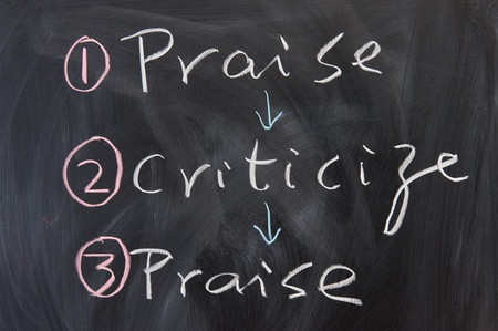criticize: Chalkboard writing - concept of how to criticize Stock Photo