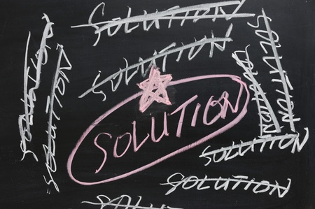 Chalkboard drawing - Finding the best solution Stock Photo - 11792674