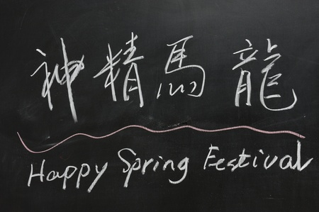 Chalkboard drawing - 2012 Chinese Spring Festival, the Chinese  blessing words means the vigour of a dragon or horse photo