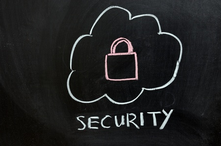 Chalk drawing - Security of cloud service Stock Photo - 11792679