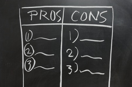 cons: Chalkboard drawing - Pros and Cons list side by side