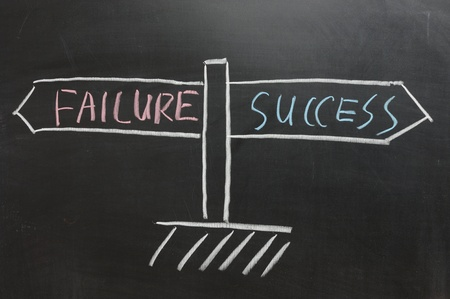 Chalkboard drawing - Road sign of Success and Failure Stock Photo - 11792747