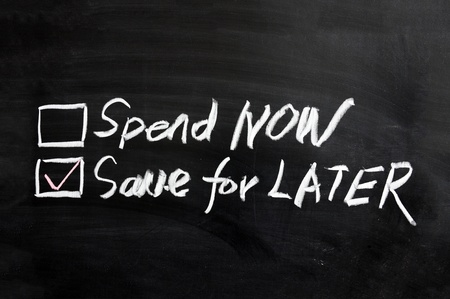 later: Chalboard drawing - Spend now or save for later