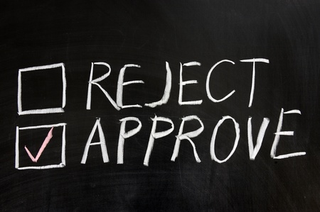 reject: Chalkboard drawing - Reject or approve