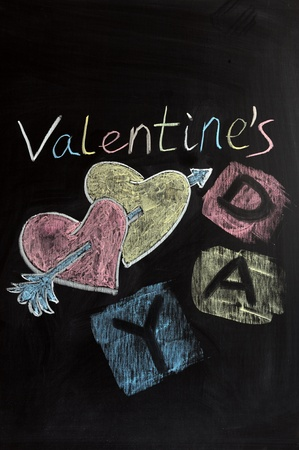 Chalk drawing - Valentines day photo