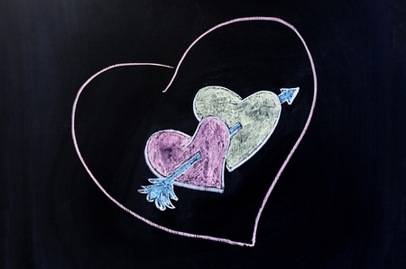 Chalk drawing - The Arrow Of Love photo