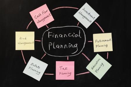 prendre sa retraite: Dessin conceptuel de la planification financi�re Banque d'images