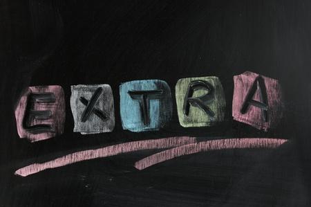 """dessin craie: Dessin � la craie - """"Extra"""" �crit sur le tableau"""