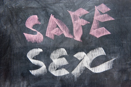 Chalkboard writing of safe sex concept Stock Photo - 11873491