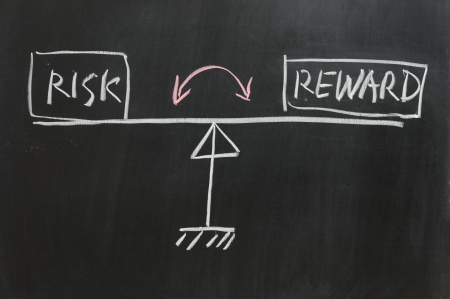 Chalkboard drawing - Meet tussen risico en rendement Stockfoto