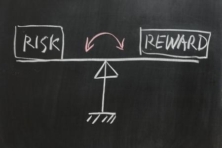 risiko: Chalkboard Zeichnung - Measure of Risk and Reward