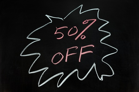 write off: Chalk drawing - Fifty percent off Stock Photo